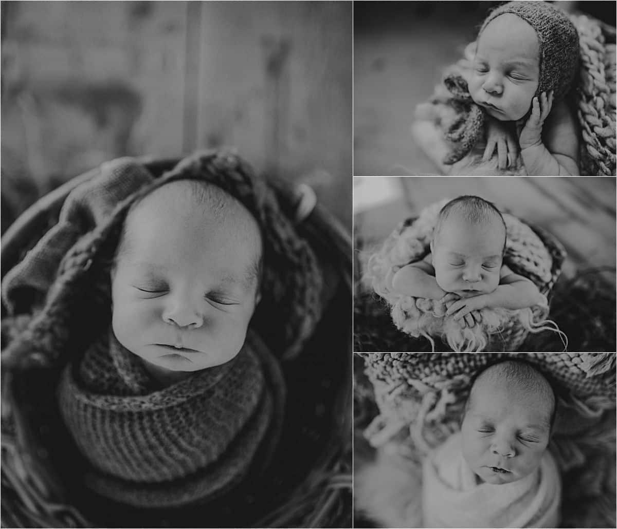 Winter Newborn Boy Session Black White Collage