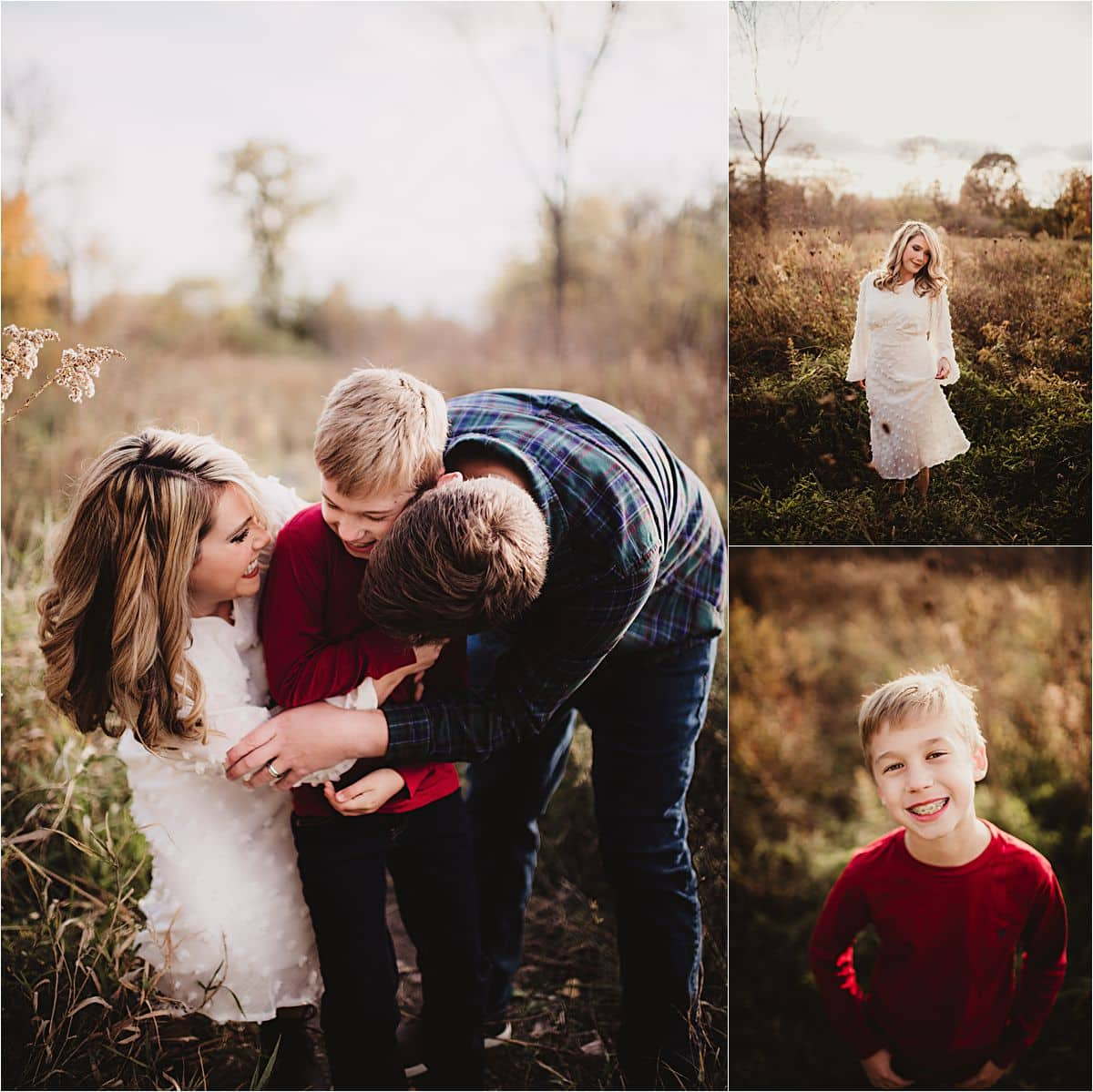 Fall Outdoor Family Session Parents Hugging Son