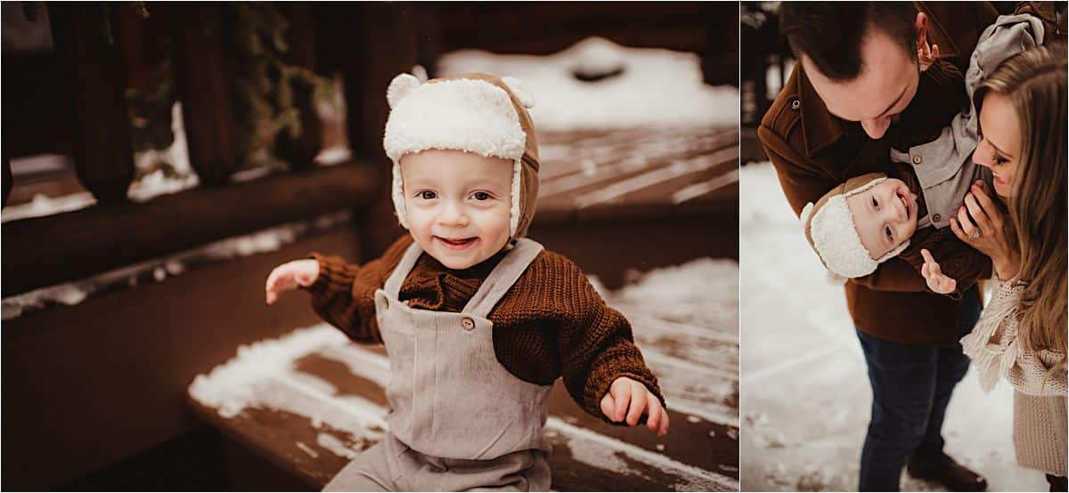 Winter Family Farm Session Baby Boy in Hat