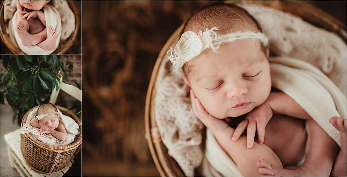 Close Up Newborn in Basket
