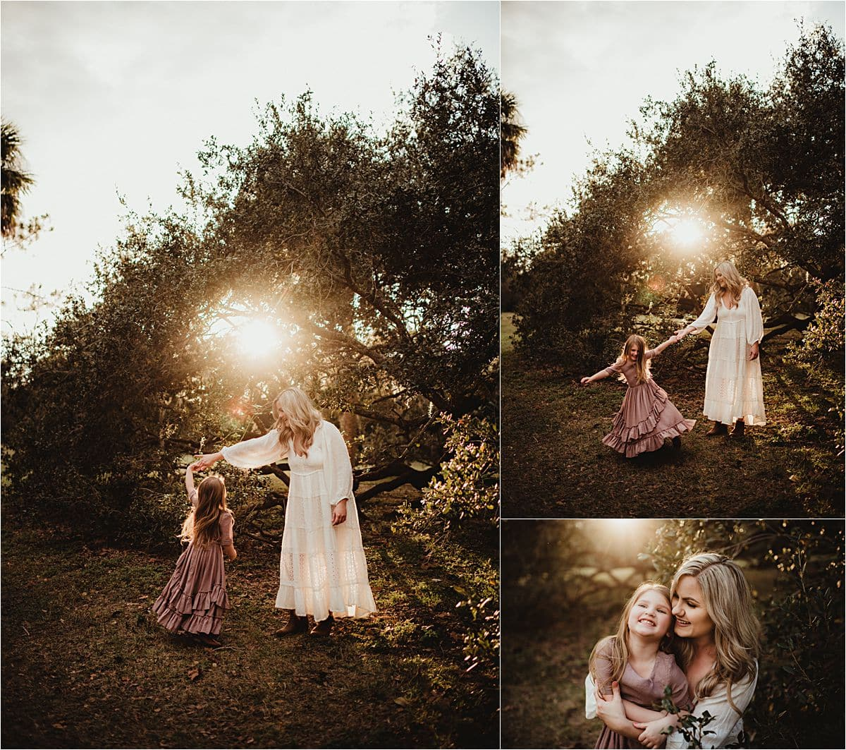 Sunset Mommy and Me Session Mama Twirling Daughter
