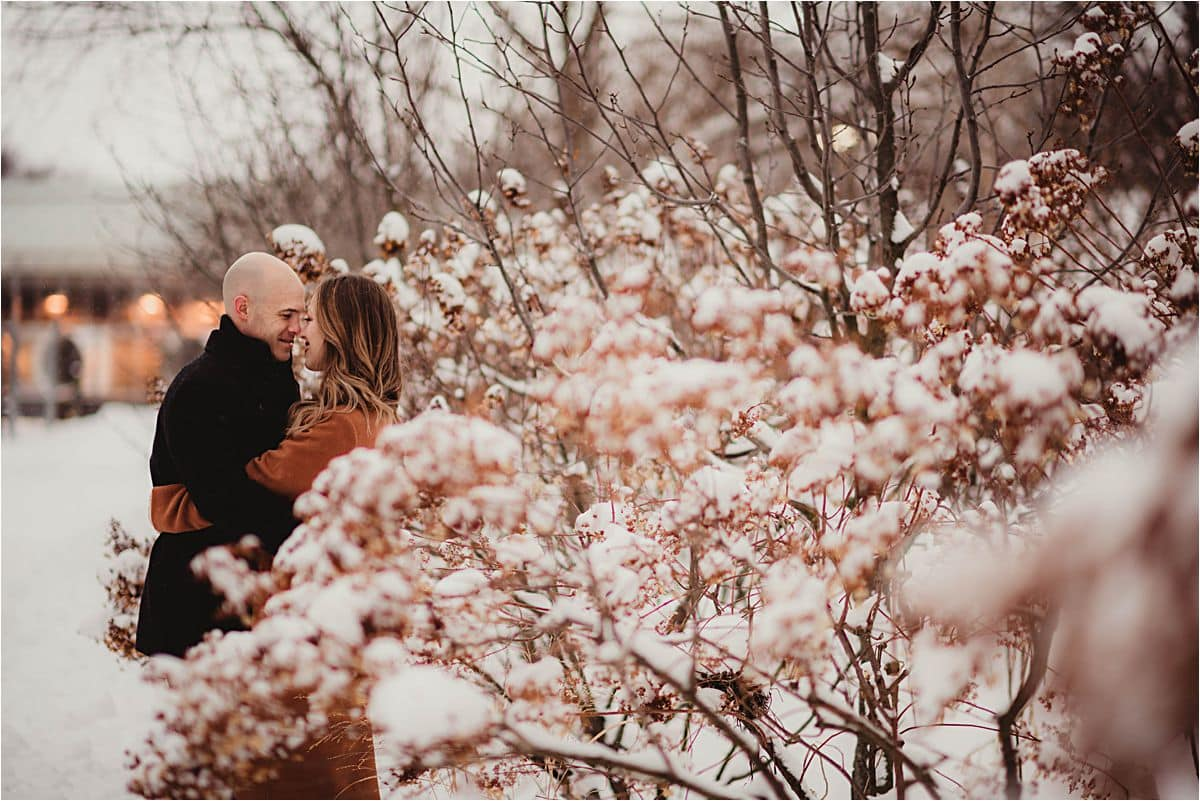 Snowy Winter Engagement Session Couple
