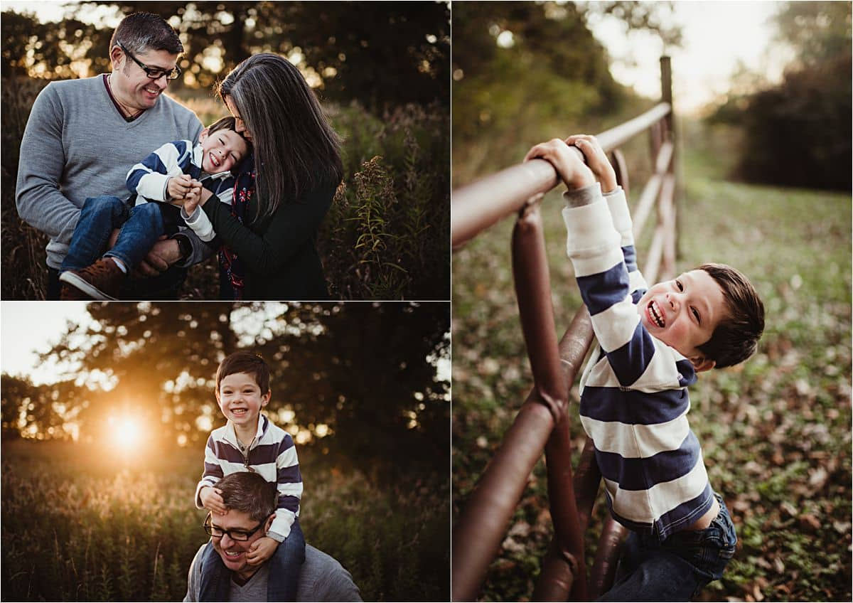 Golden Hour Family Session Collage Parents with Son