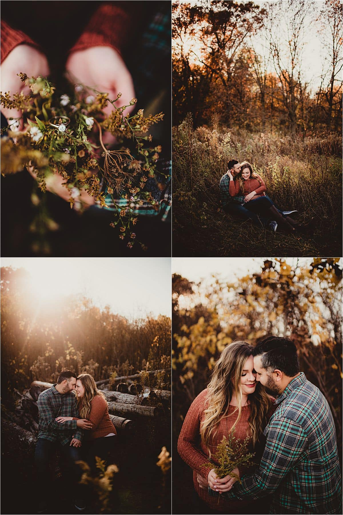 October Sunset Engagement Session Collage Ring Detail
