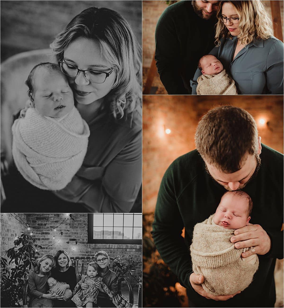 Newborn Boy Studio Session Collage Newborn with Family