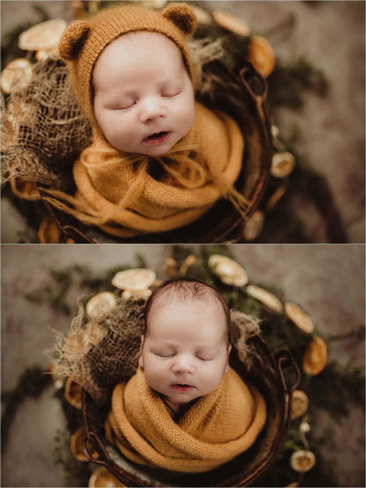 Newborn Boy Studio Session Newborn in Yellow