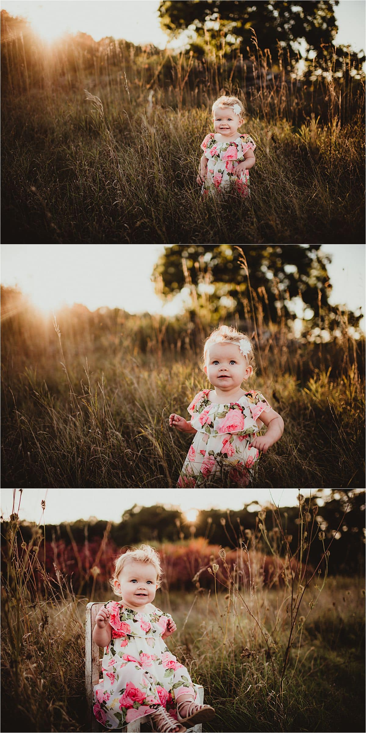Fall Floral Family Session Little Girl in Field