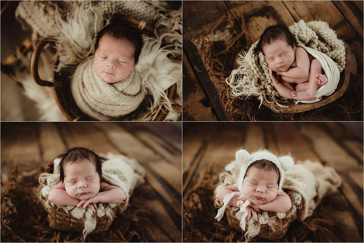 Boho Newborn Session Collage Boy