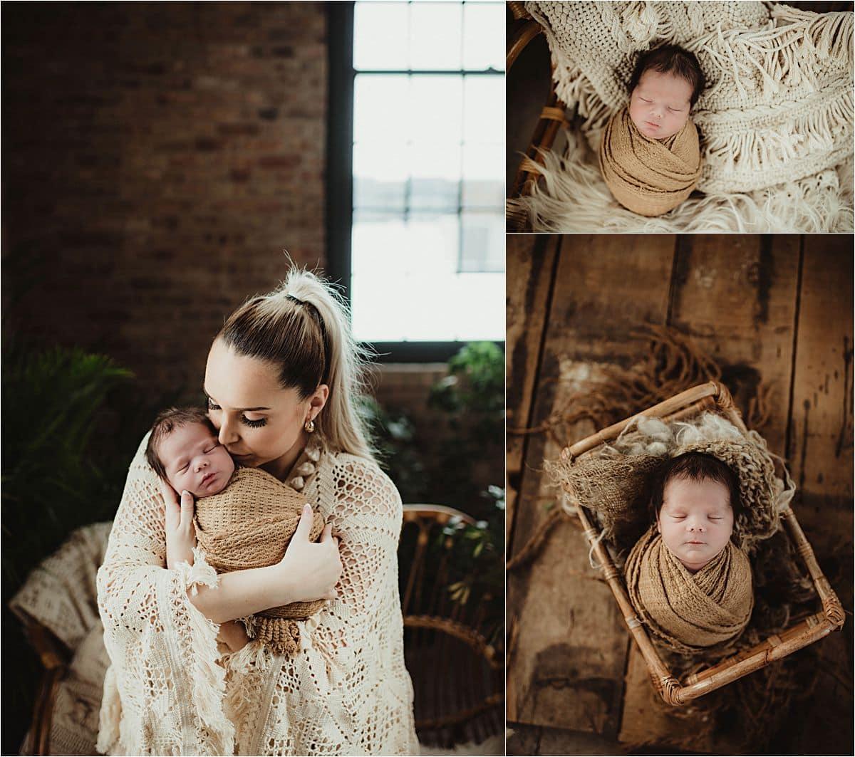 Boho Newborn Session with Mom