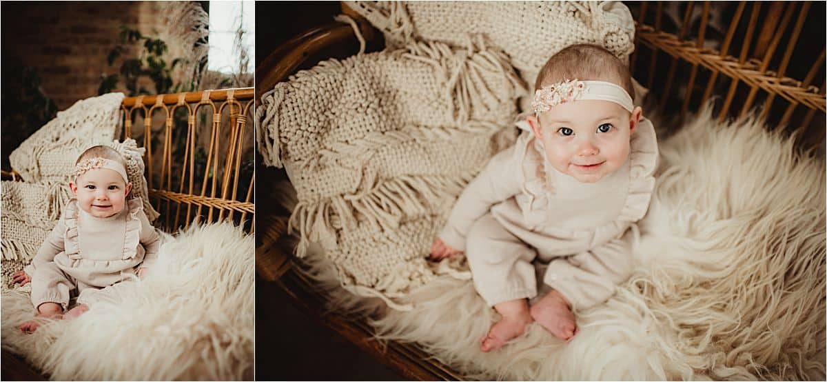Milestone In-Studio Session Baby Girl in Neutrals