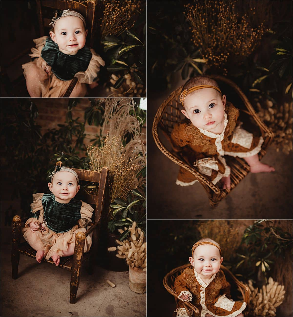 Milestone In-Studio Session Collage Baby Girl on Chair