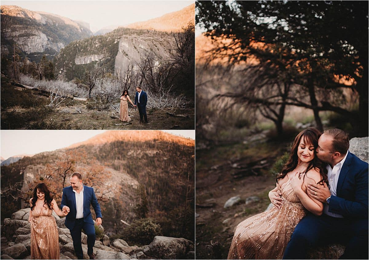 Glamorous Portrait Session Couple on Mountain at Sunset