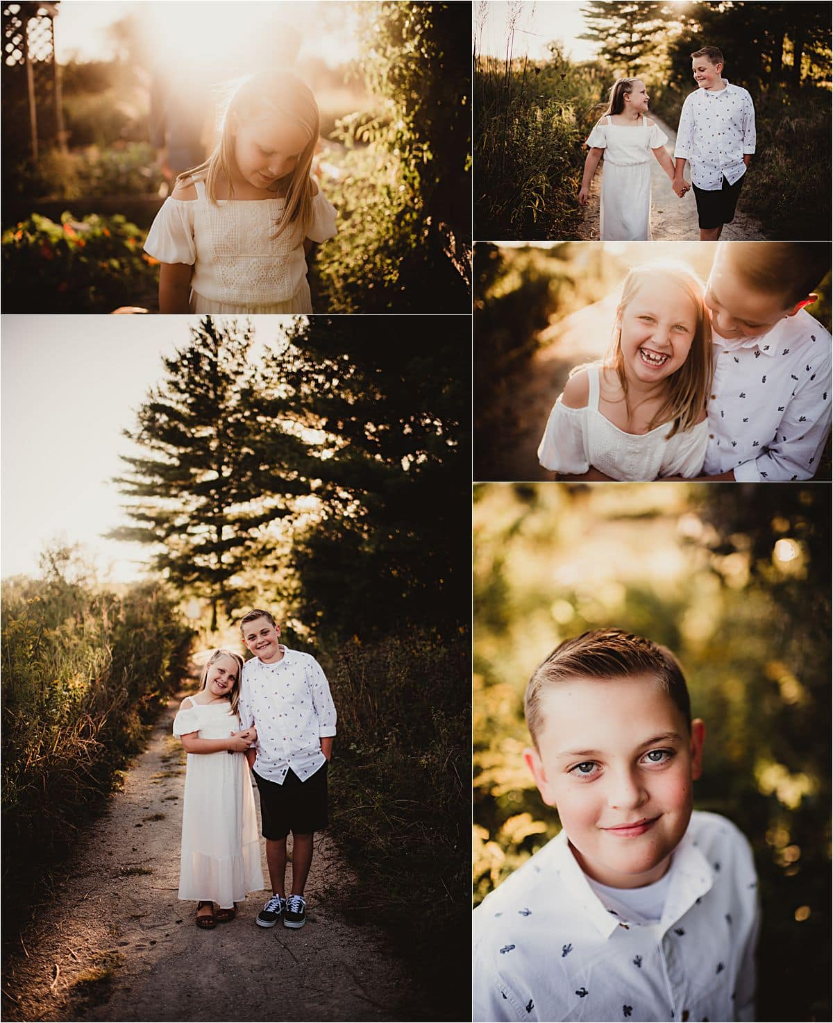 September Sunset Session Collage of Siblings