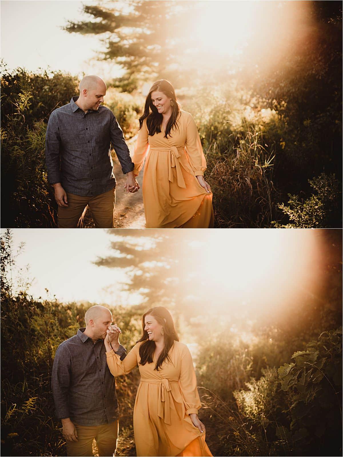 September Sunset Session Couple Walking Holding Hands