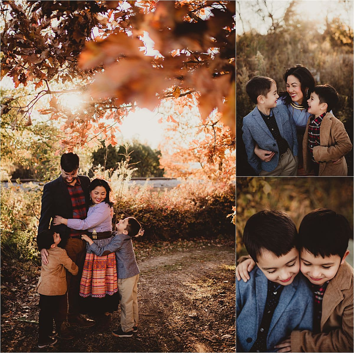 October Golden Hour Session Collage Mama with Family