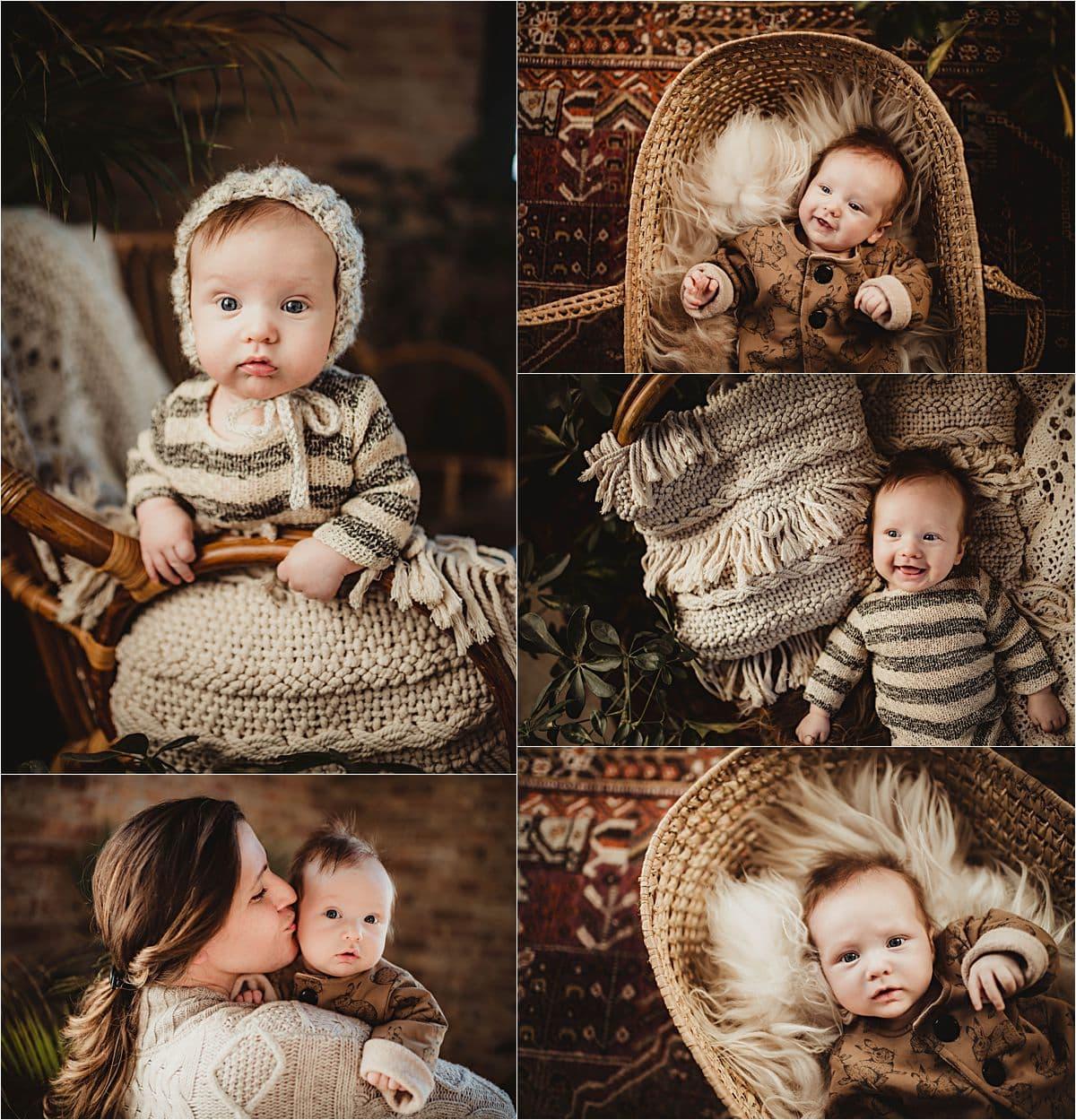 Collage Baby Boy Striped Onesie