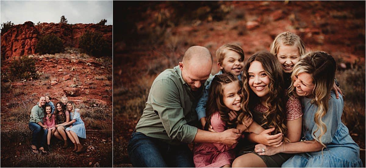 Golden Hour Desert Session Family Hugging