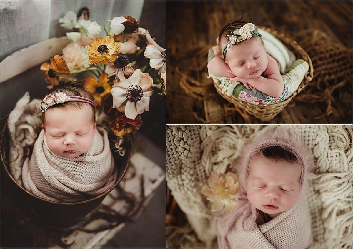 Vintage Floral Newborn Session Collage Newborn Girl Flowers