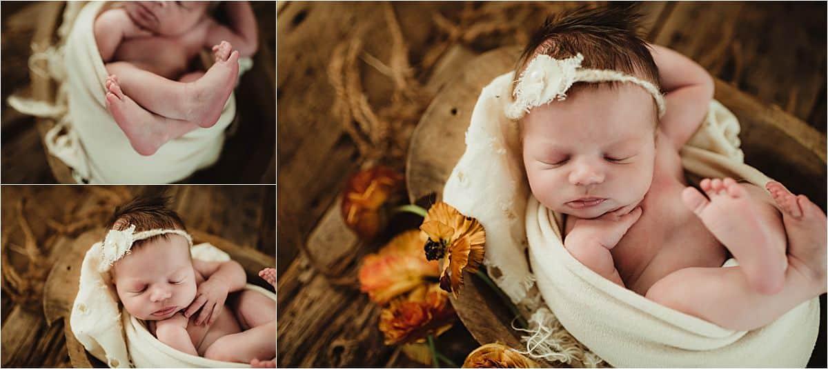 Vintage Floral Newborn Session Newborn in White Wrap