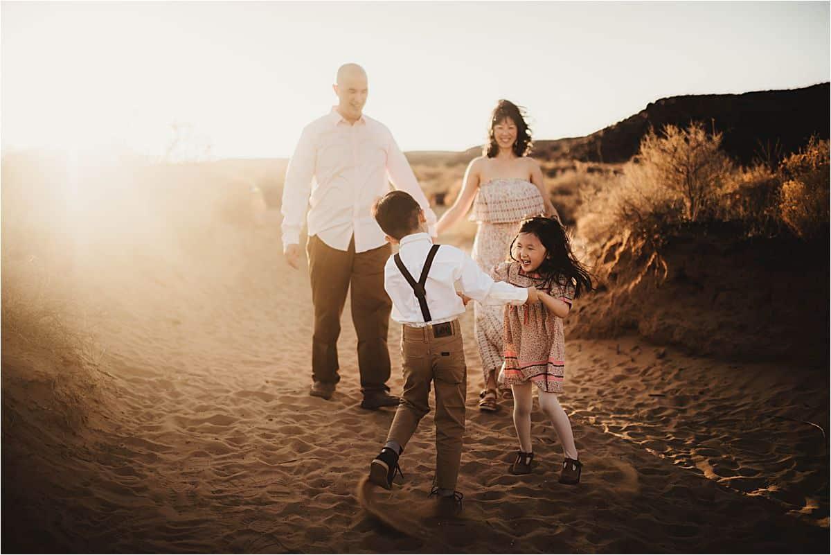 Family Playin in Desert