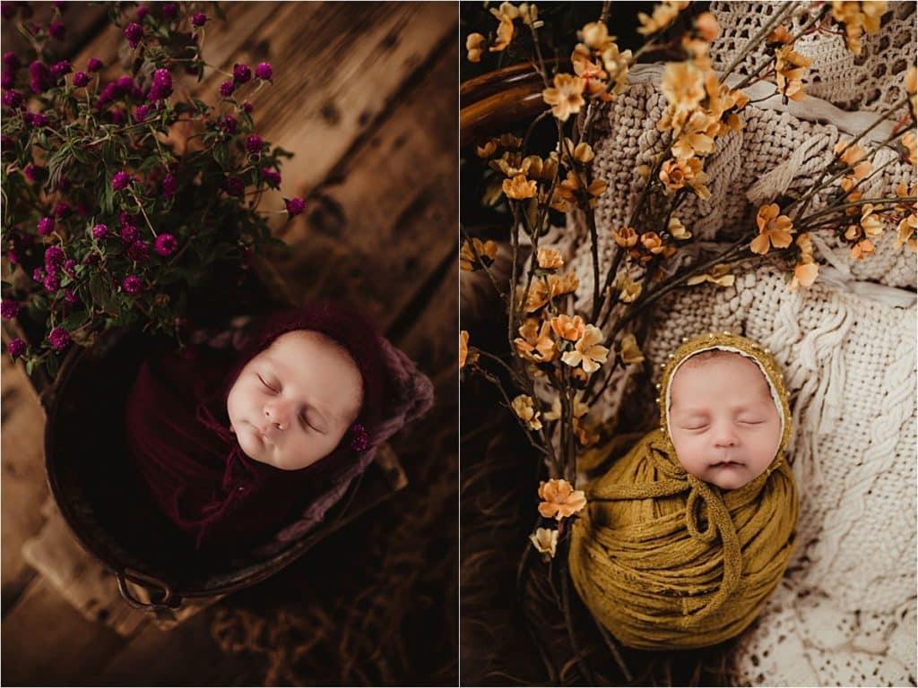 Jewel Tones Newborn Session Newborn with Flowers