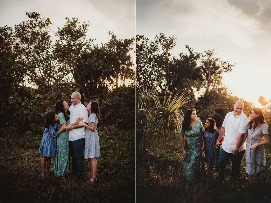 Florida Sunset Family Session Family Snuggling by Palm Trees