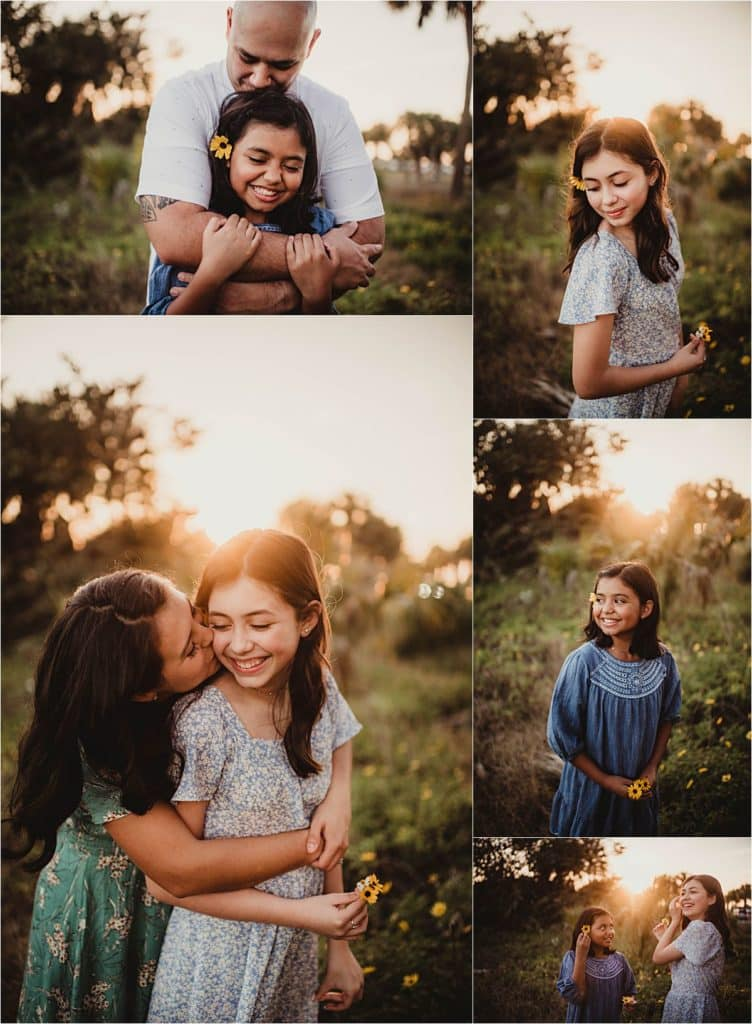Florida Sunset Family Session Collage Daughters with Parents