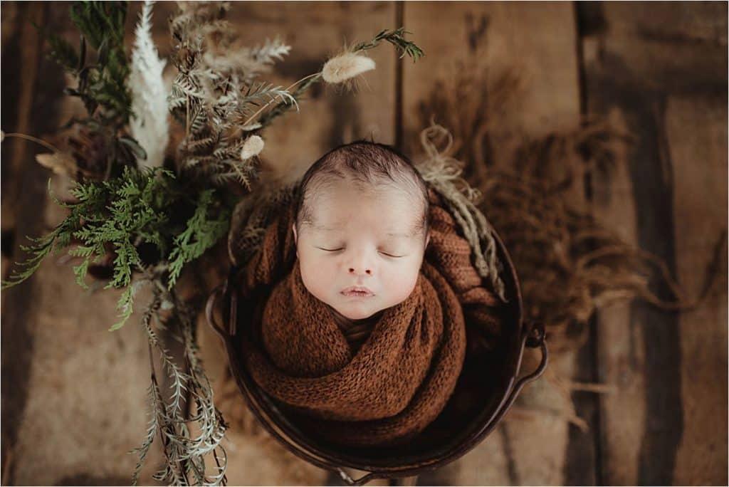 Neutrals Newborn Session Newborn Boy in Brown Wrap