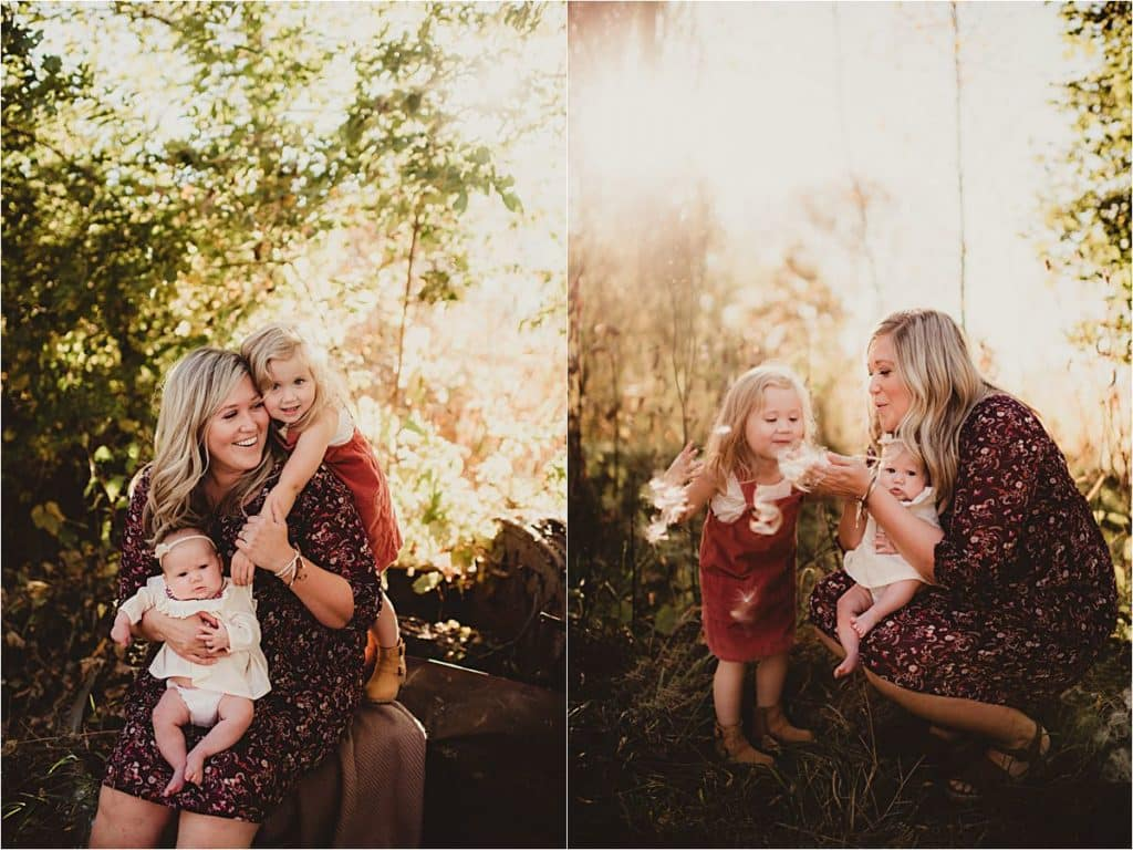 Mother Daughter Fall Session Mama with Daughters