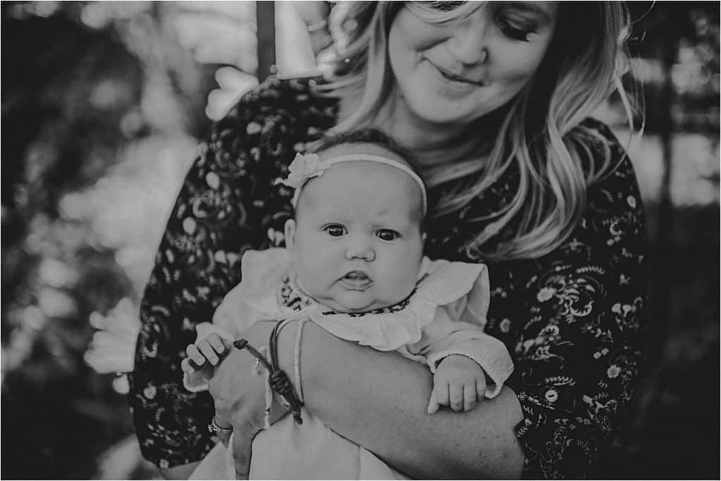 Mother Daughter Fall Session Mom Holding Baby