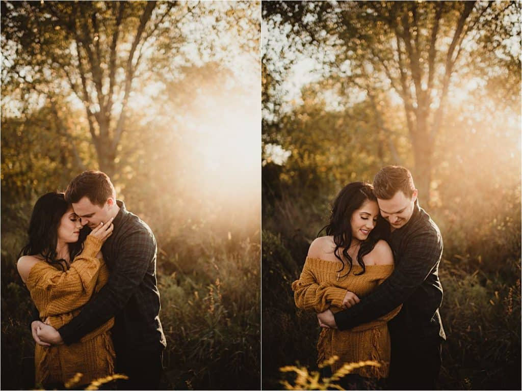 Fall Golden Hour Engagement Couple Snuggling