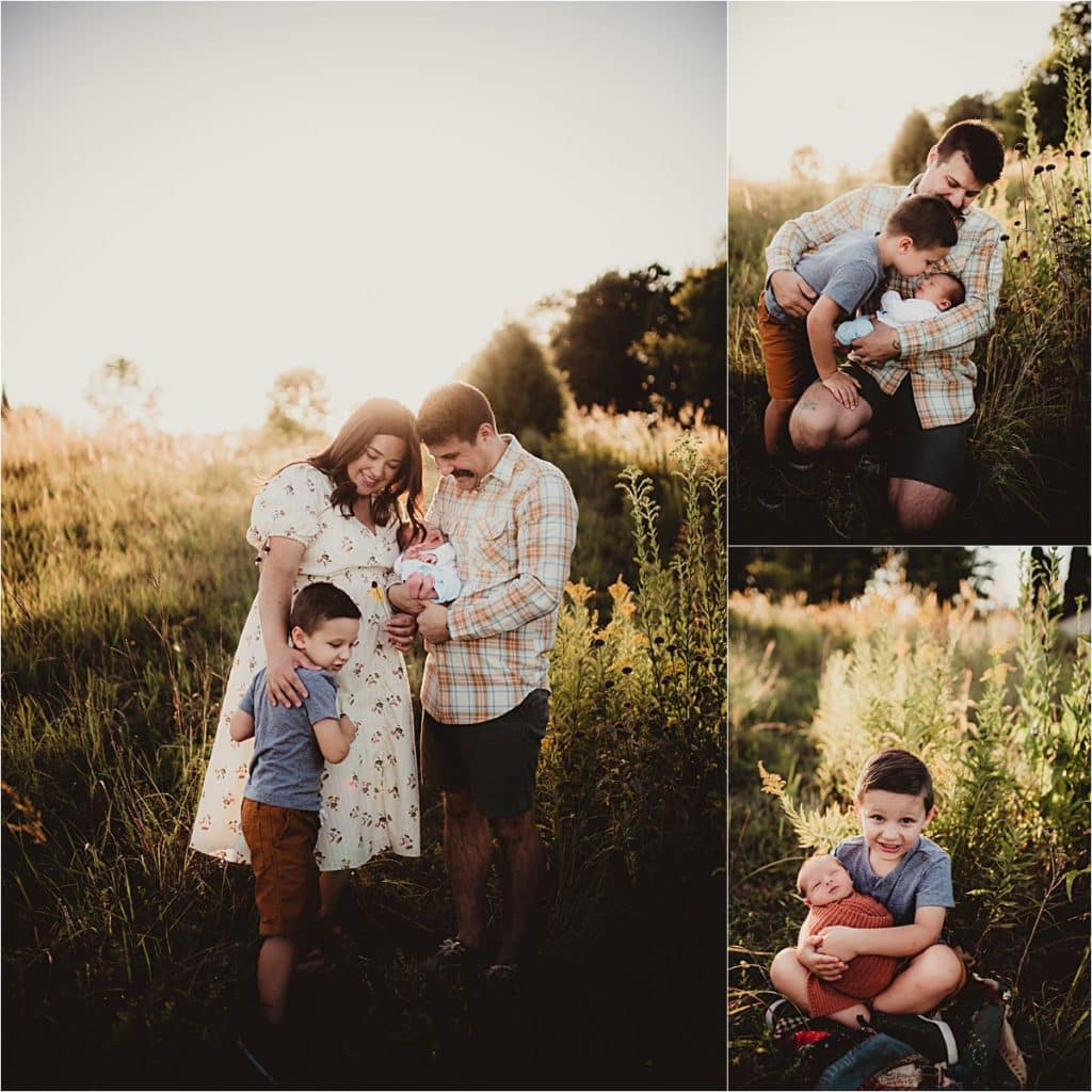 Newborn Family Sunset Session Collage Family with Newborn