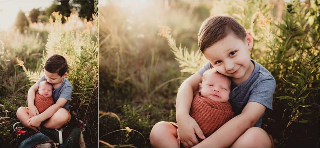 Brother Snuggling Newborn