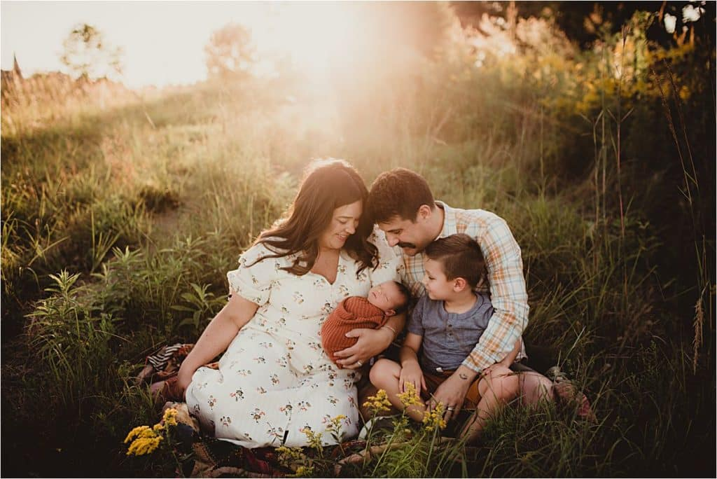 Newborn Family Sunset Session Family Snuggling