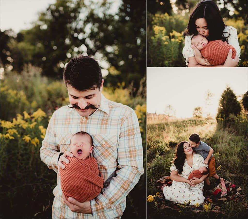 Newborn Family Sunset Session Collage Parents with Newborn