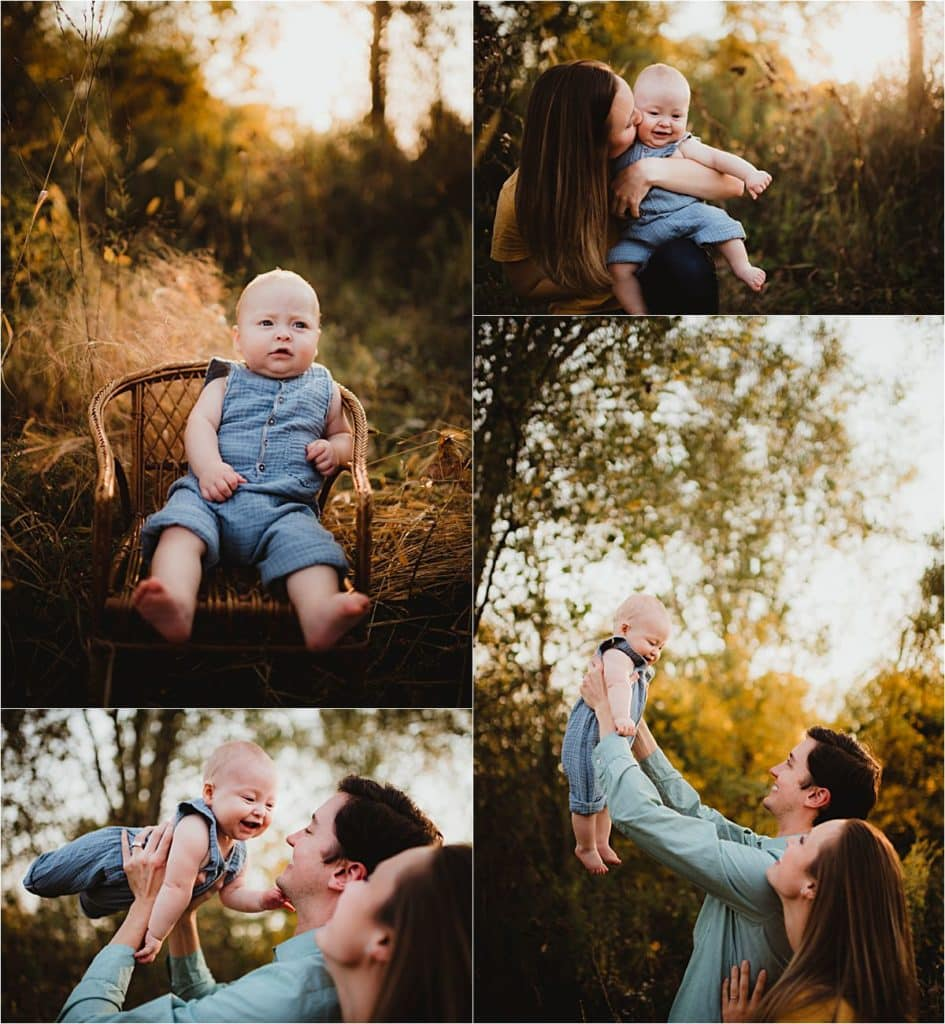 Sunset Milestone Session Parents with Baby Boy