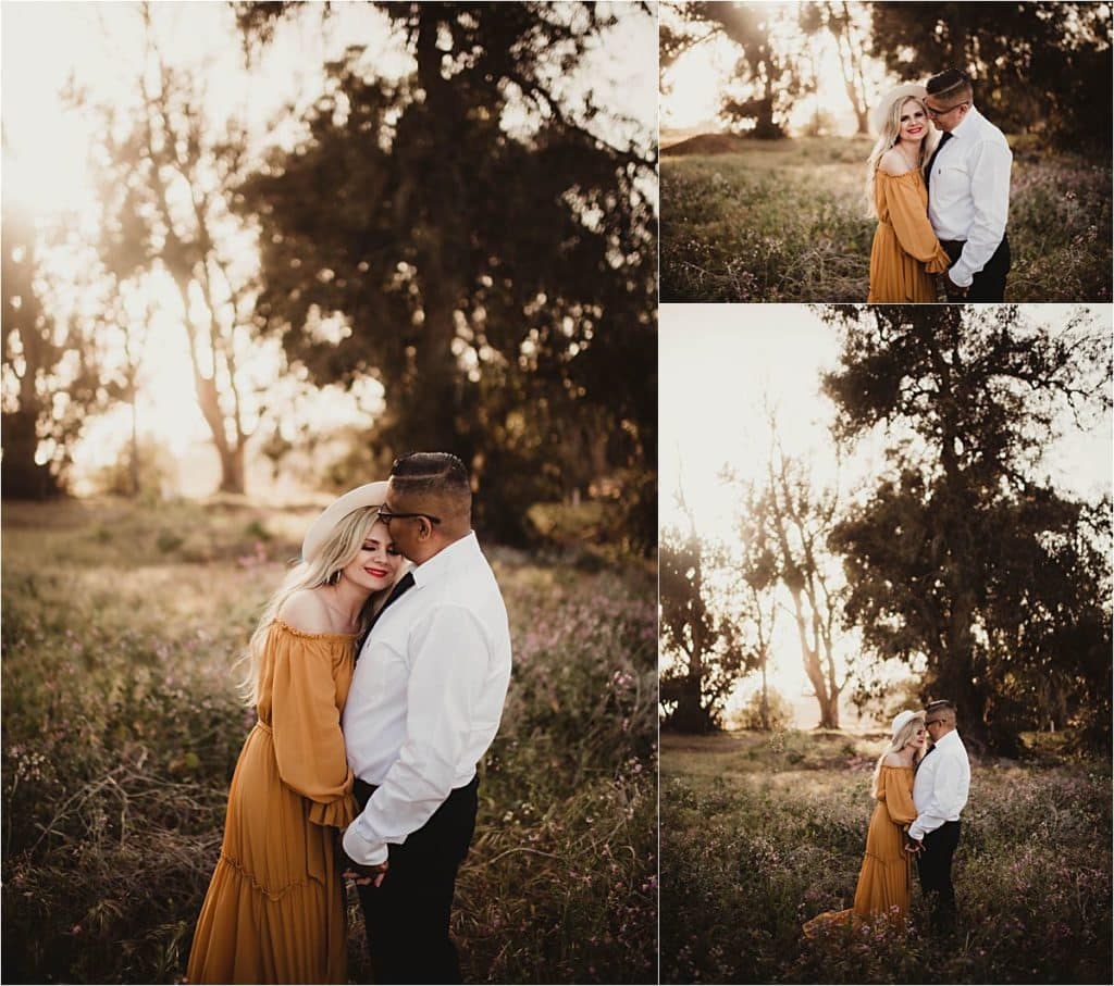 Coastal Golden Hour Session Collage Couple Snuggling
