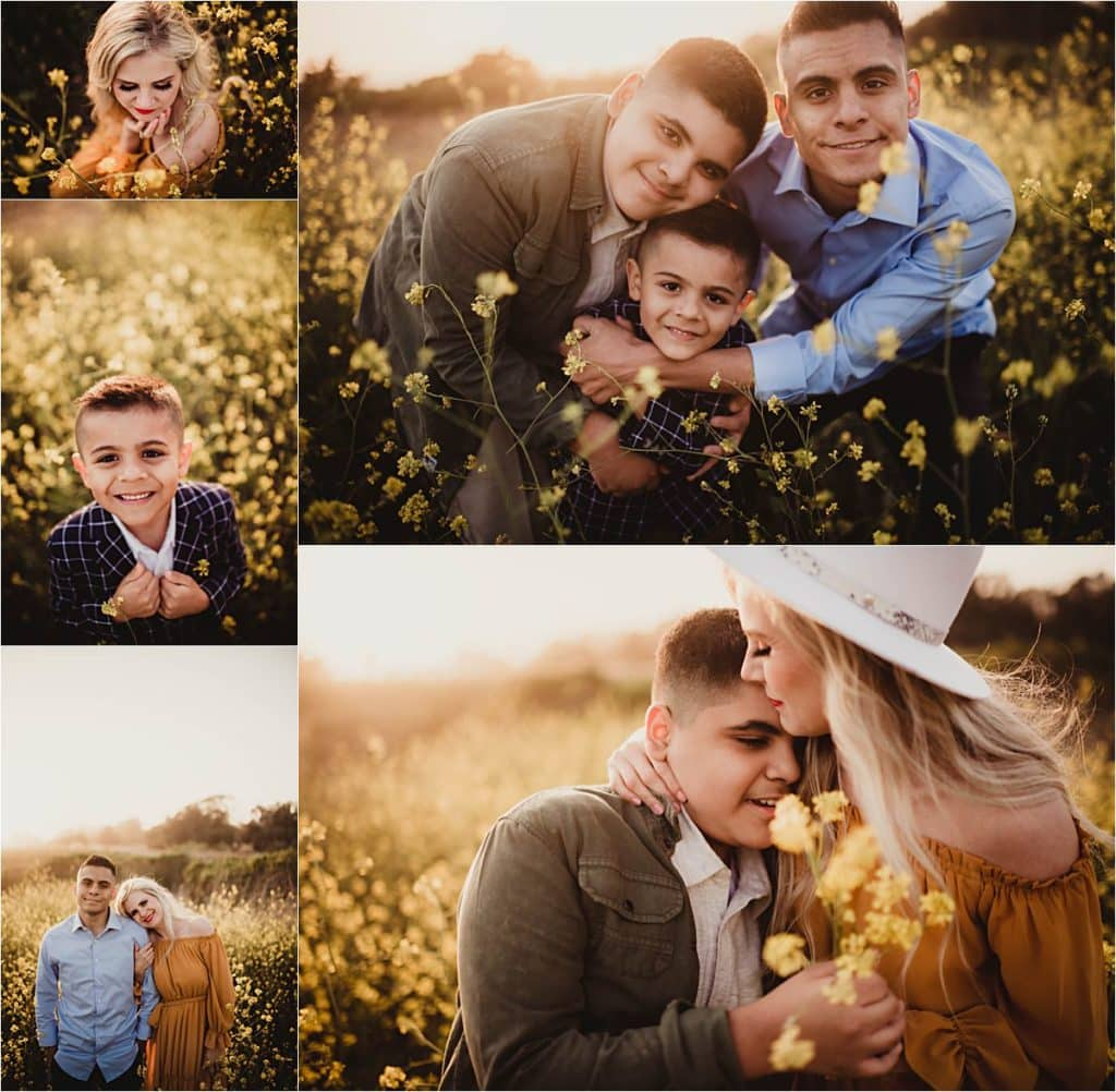 Coastal Golden Hour Session Collage Mom with Sons