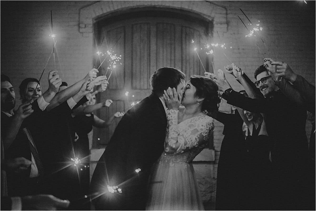 Bride Groom Sparkler Kiss