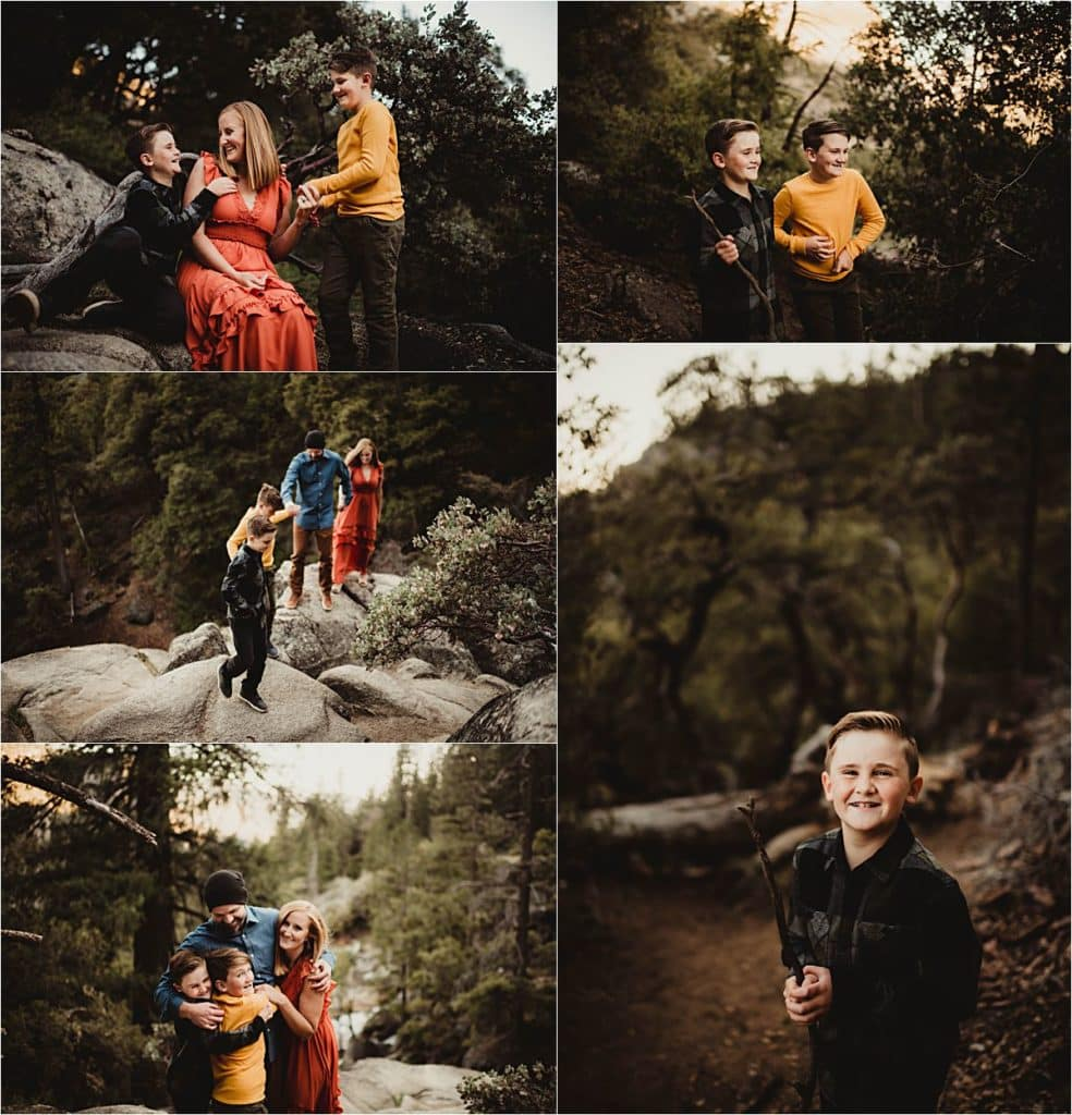 Sunset Family Adventure Session Collage Family by River