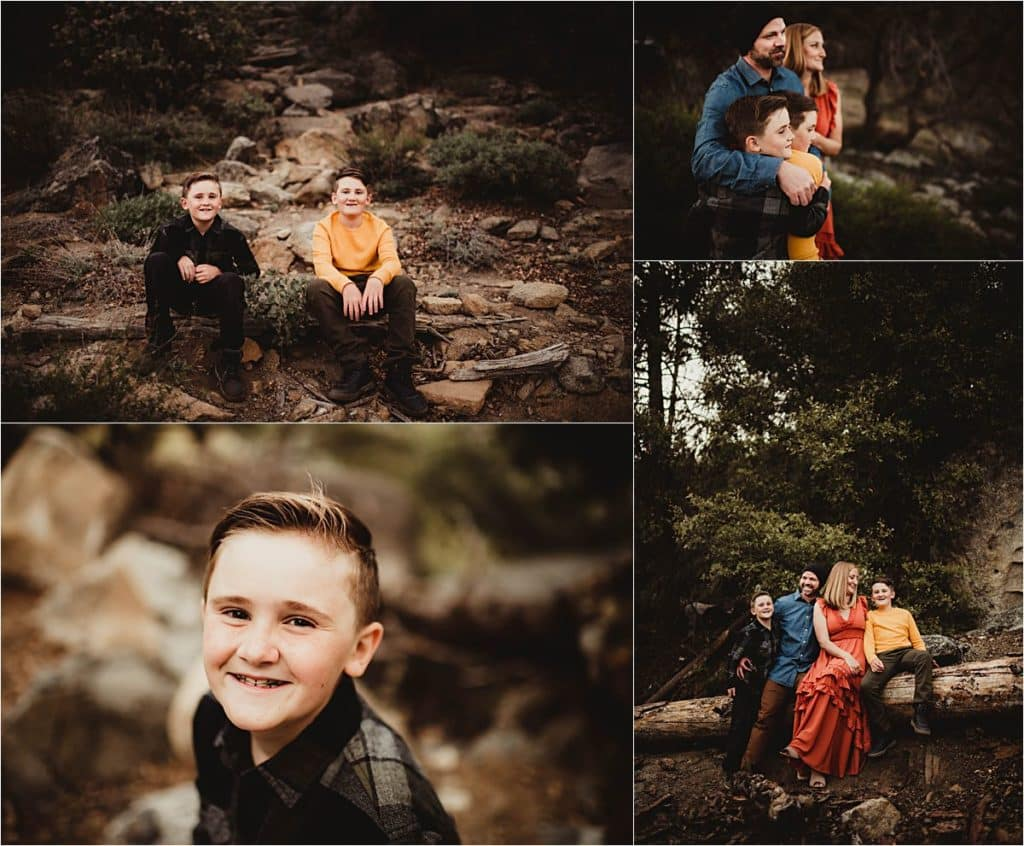 Sunset Family Adventure Session Collage Family on Rocks