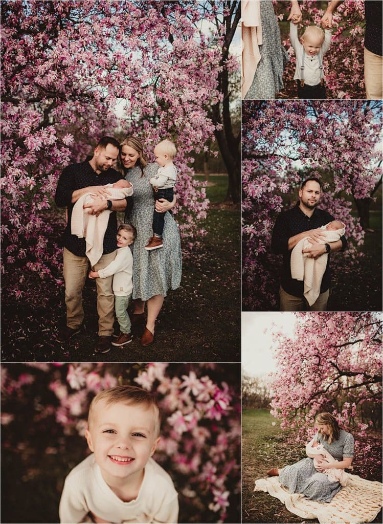 Collage Family in Lilacs
