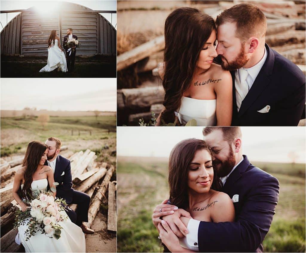 Rustic Chic Spring Wedding Collage Bride Groom Snuggling