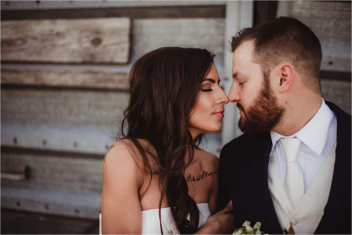 Bride Groom Touching Noses