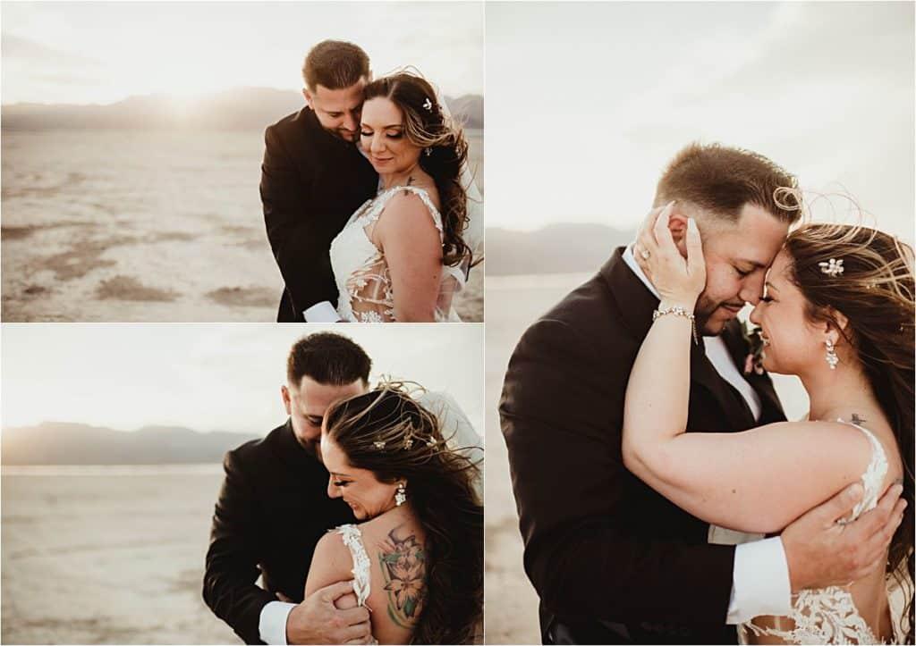 Windblown Desert Spring Wedding Collage Couple in Desert