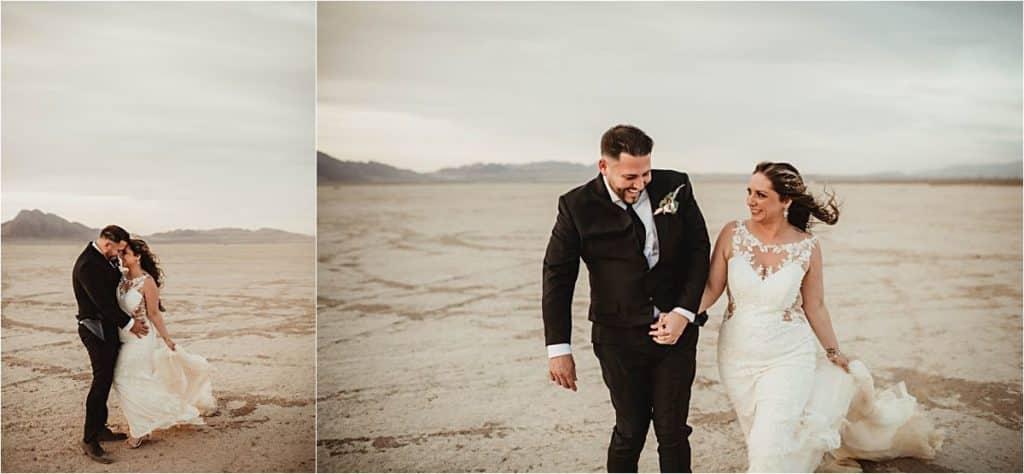 Windblown Desert Spring Wedding Bride Groom Walking