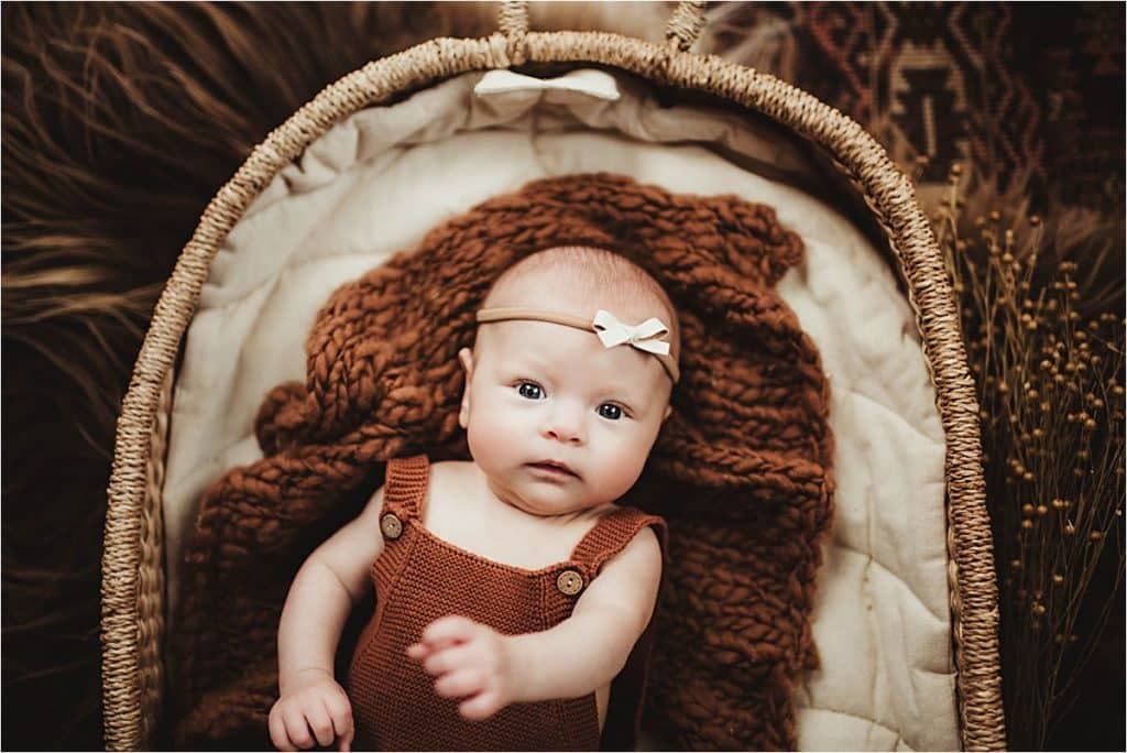 Three Month Milestone Baby Girl in Basket