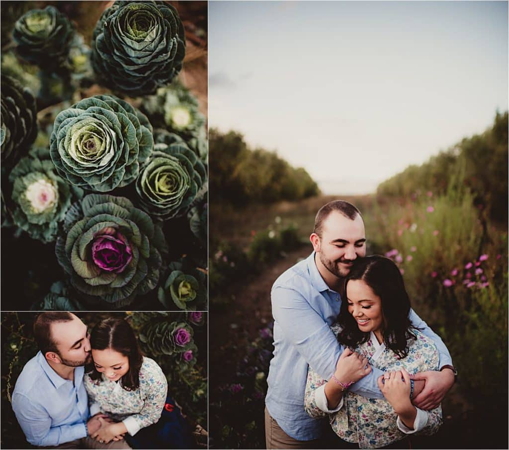 Garden Engagement Session Couple Snuggling