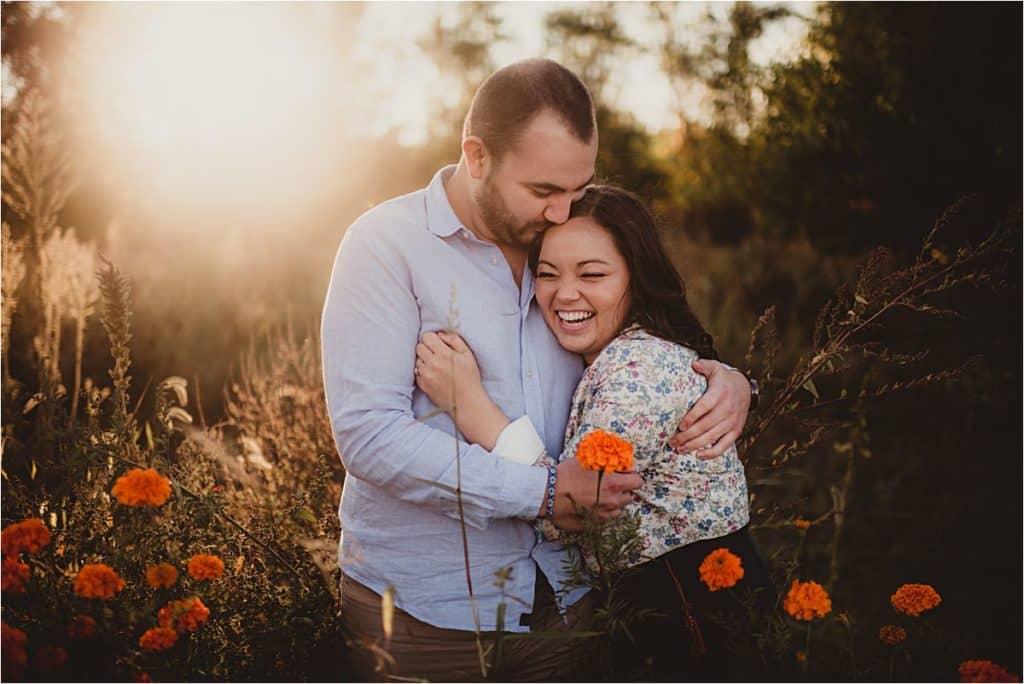 Couple in Orange Flowers