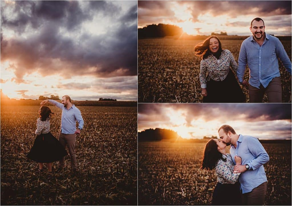 Sunset Garden Engagement Session Couple in Field